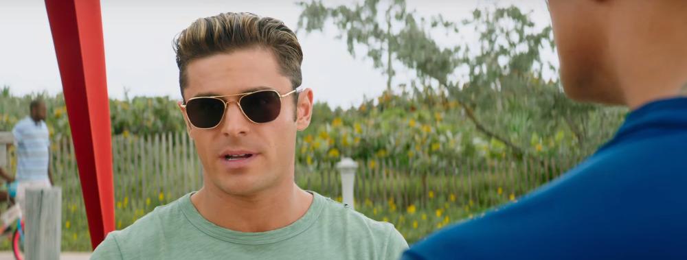 Zac Efron wearing sunglasses in Baywatch
